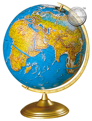 preview one of 12 Inch Physical Political Globe, Semi Meridian Mtg.